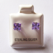 5mm square Princess cut Lavender Cubic Zirconia Sterling silver Stud earrings